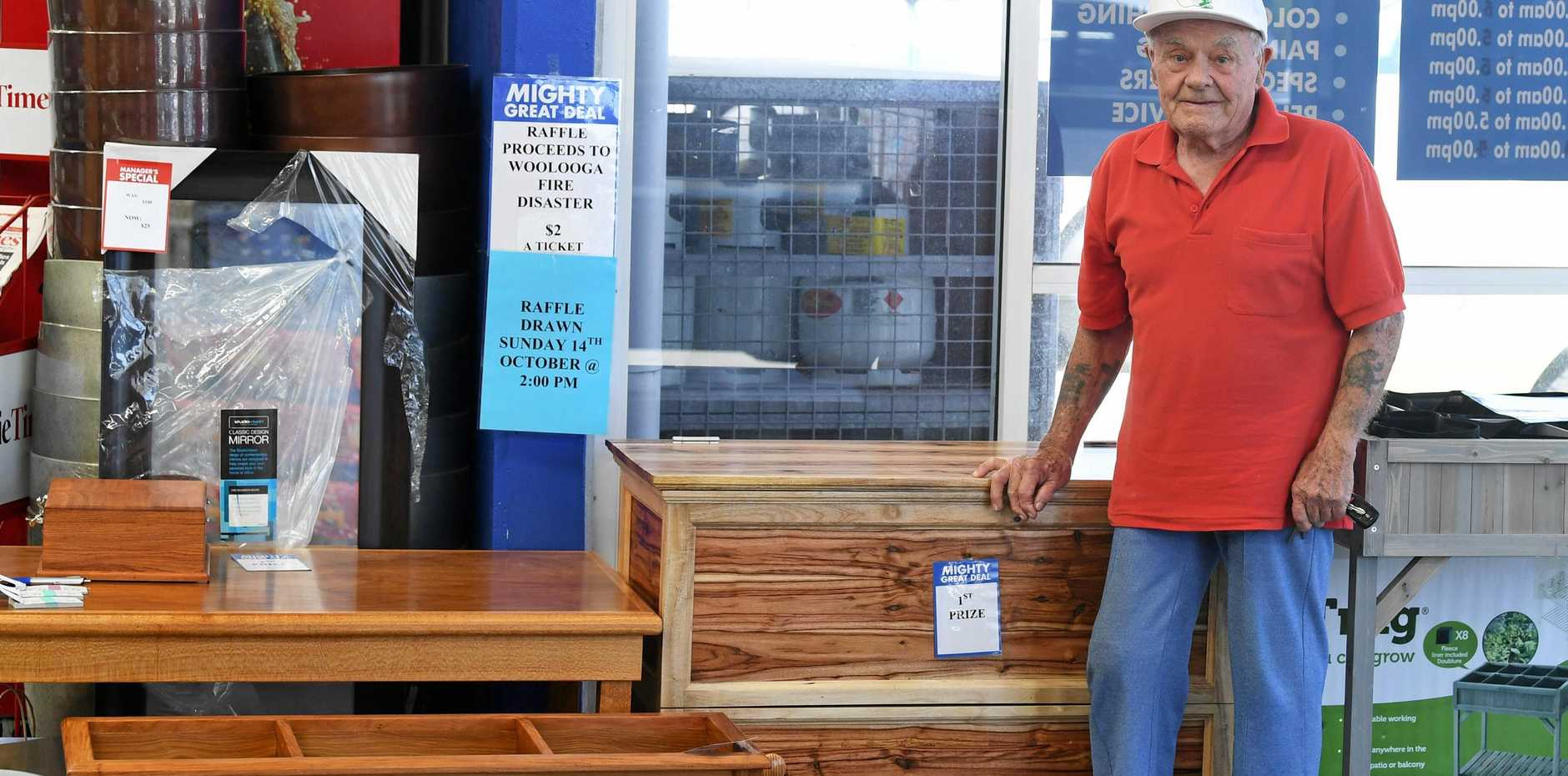 BIG HEART: 86-year-old Ted Senior has worked tirelessly to raise money for the Woolooga fire victims with his hand-crafted woodwork.