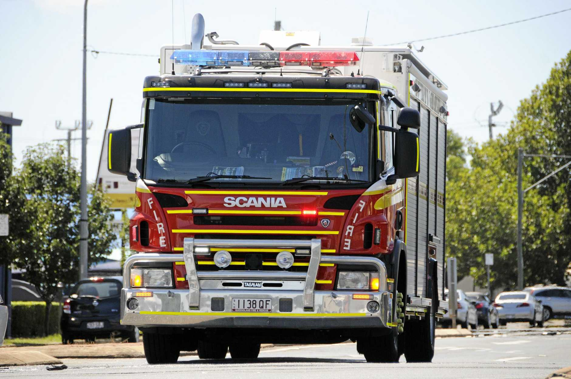 Emergency services are on the scene of an incident in Moranbah where a car crashed into a home.