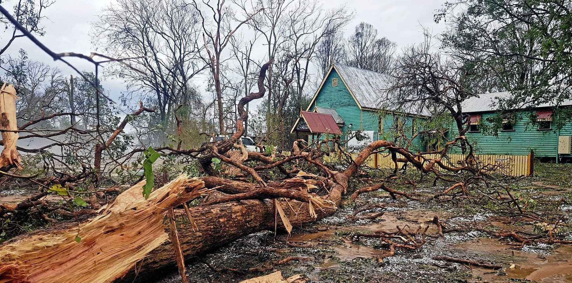 STORM DAMAGE: Whipbird Cafe in Coolabunia after Thursday afternoon's storm.
