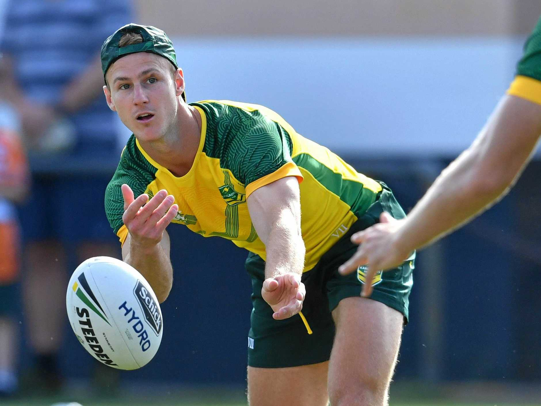 Daly Cherry-Evans offloads during a Kangaroos training session this week. Picture: Darren England/AAP