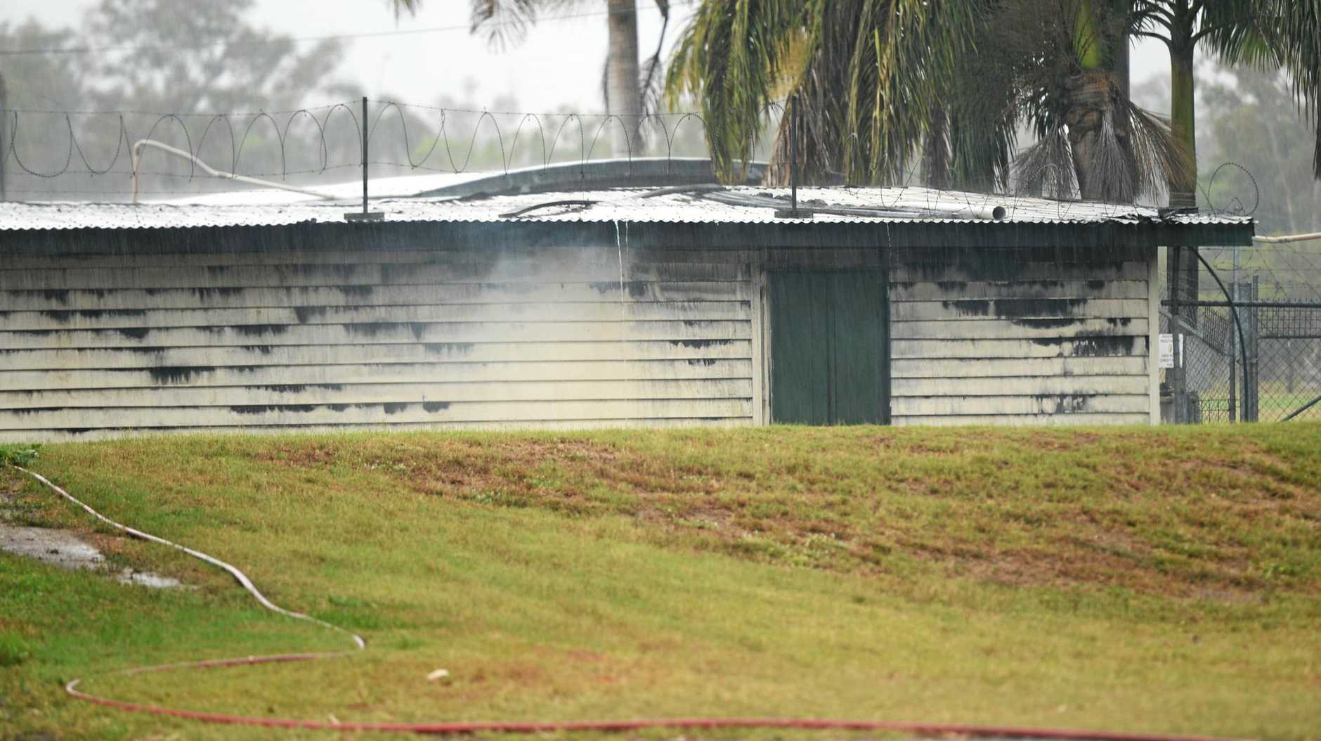 A shed at Kalka Shades was damaged in a fire.