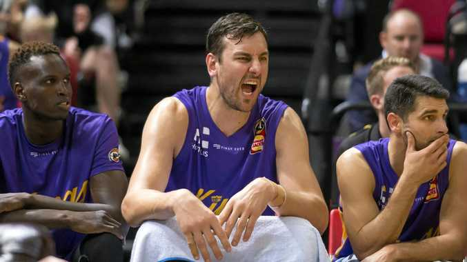 Andrew Bogut, centre, reacts during the Kings' clash with the Adelaide 36ers at Sydney's Qudos Bank Arena on Saturday.  Picture: Craig Golding/AAP