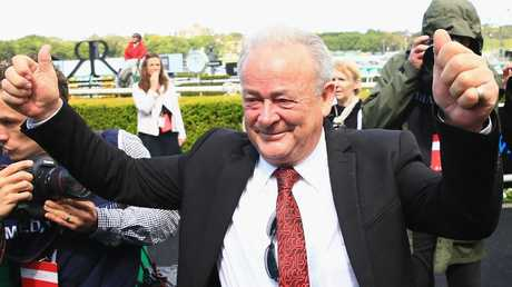 Trainer John Shelton was over the moon. Picture: Mark Evans/Getty Images