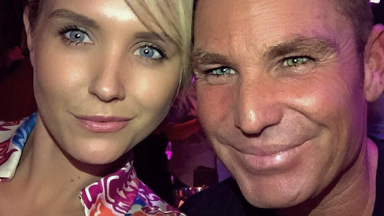 Shane Warne (pictured with Nicky Whelan in 2015) went a little overboard with the Botox. Picture: Shane Warne/Instagram