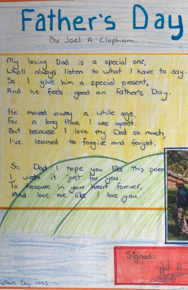 The poem JC wrote for his dad on Father's Day 1995.