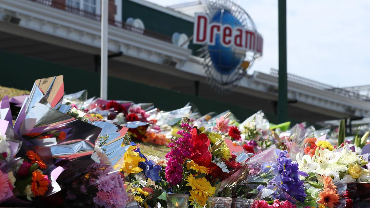 Tribute and flowers at Dreamworld where four people died after an accident on a ride at the Gold Coast theme park Picture by Scott Fletcher