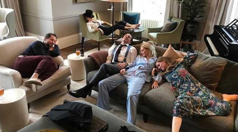 Social media image showing Derek Blasberg, Cara Delevingne, Dave Gardner, Poppy and Chloe Delevingne relaxing after the royal wedding of Princess Eugenie & Jack Brooksbank.