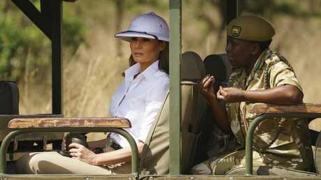 Melania Trump looks out over Nairobi National Park in Kenya during her first big solo international trip. Picture: AP