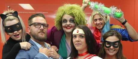 Nimble hosted Super Hero Day to raise money for the Prostate Cancer Foundation. Staff members in character from left to right: Karlene Teao as Catwoman, Matt Crighton as Clark Kent, Sheena Perkins as Sailor Mars, Jessica Bennett as The Joker, Courtney Mudge as The Joker, and Brian Bridge as Harley Quinn. Picture: Glenn Hampson