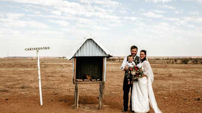 Bittersweet wedding held at family property in outback QLD