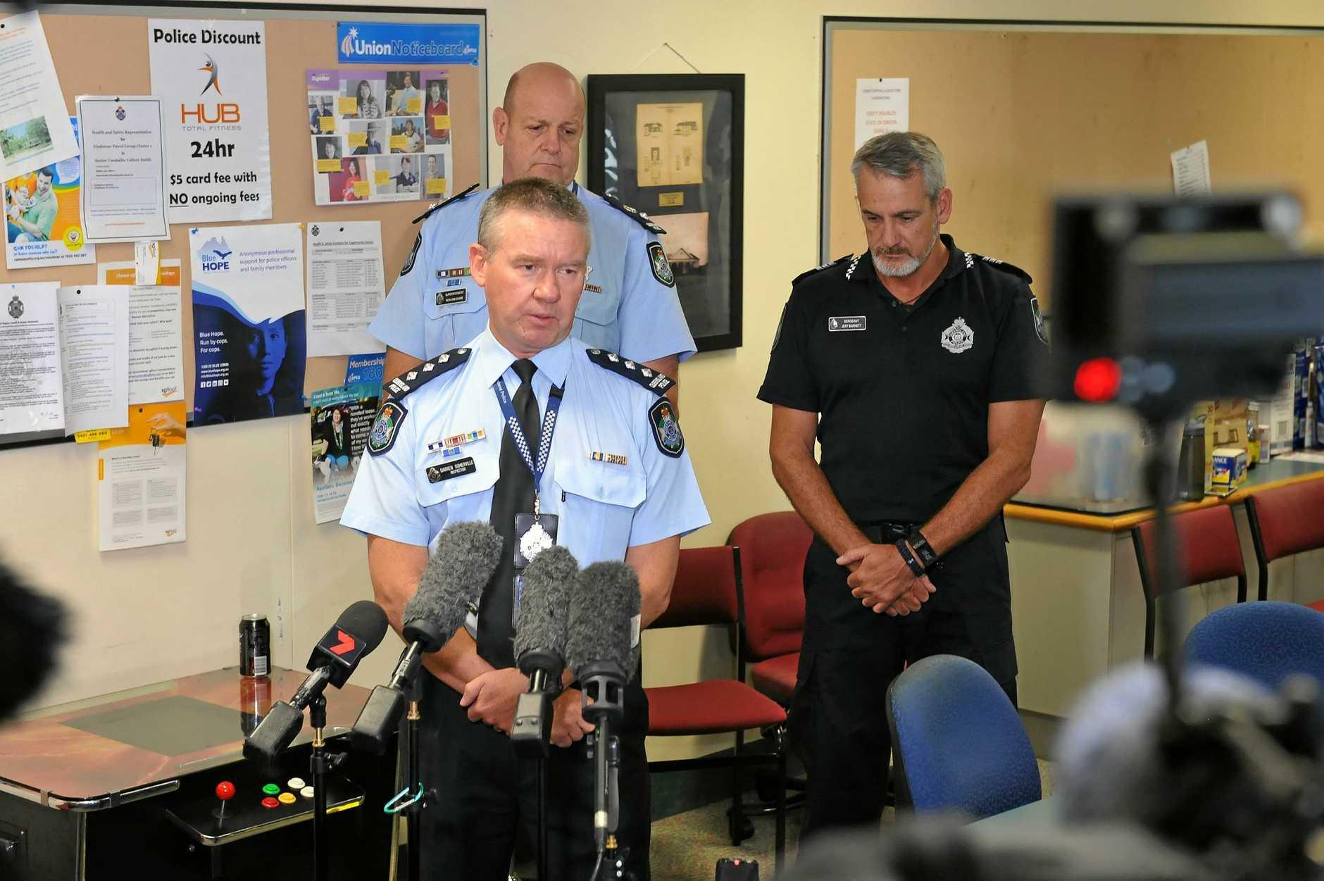 Inspector Darren Somerville, Superintendent Ron Van Saane and Sergeant Jeff Barnett.Media update for the missing fishing boat crew.