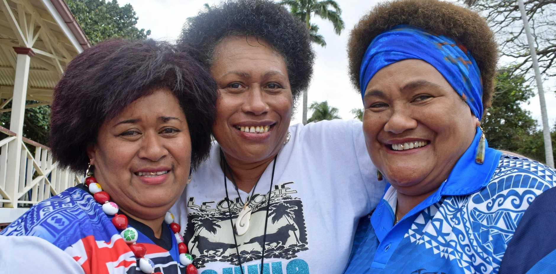 FIJI DAY: Lucy Rabonu, Milly Costigan and Litia William.