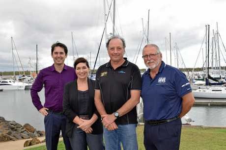 Fraser Coast Regional Council Mayor George Seymour, State Minister for Environment and the Great Barrier Reef Leeanne Enoch, Bundaberg Aqua Scuba's Julian Negri and Hervey Bay Dive Centre's Ed Gibson.