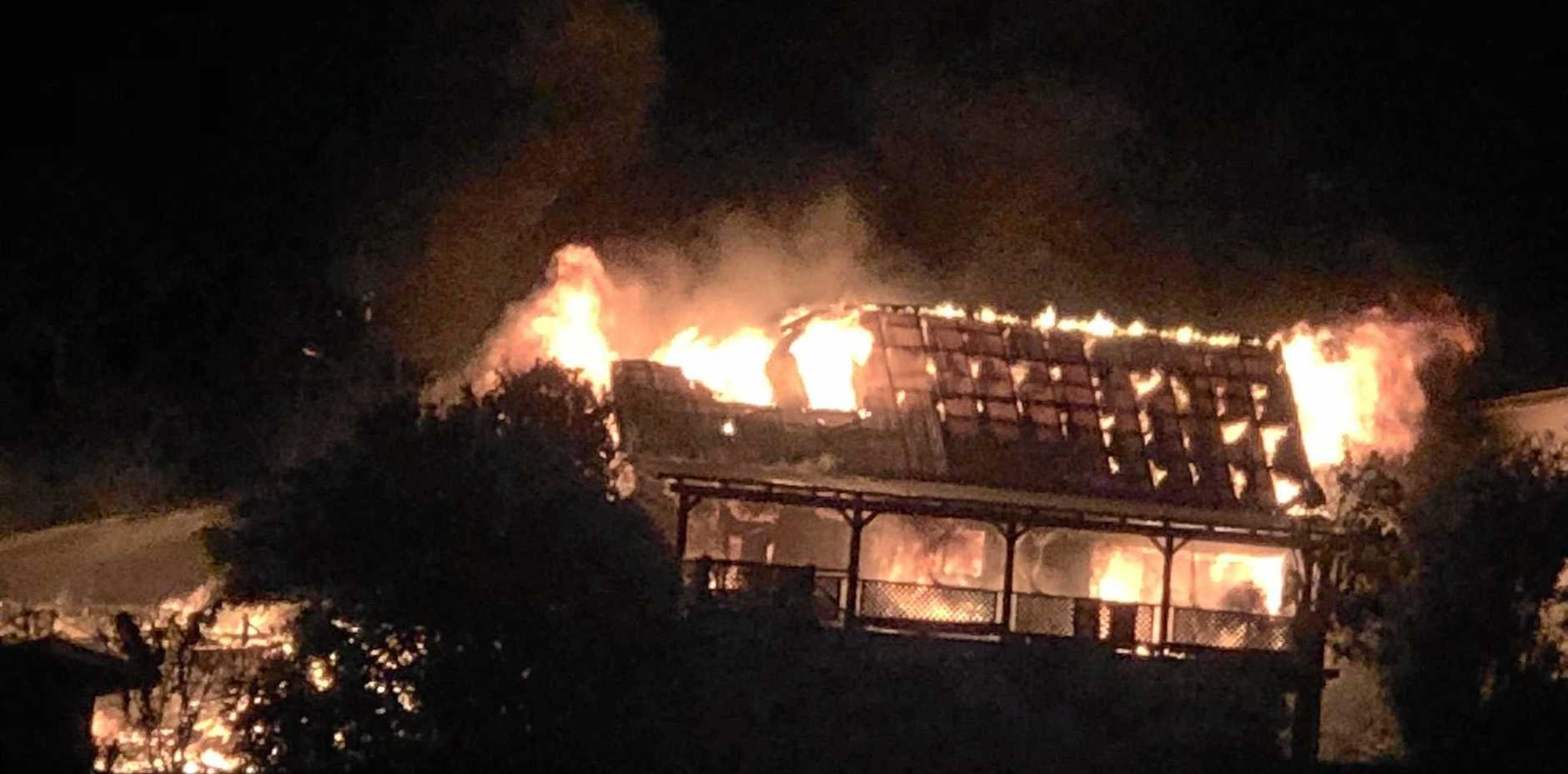 TWO homes in Lennox Head have been reduced to ashes overnight in a devastating house fire.