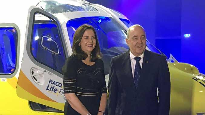 CELEBRATION TIME: Premier Annastacia Palaszczuk and LifeFlight chairman Rob Borbidge.