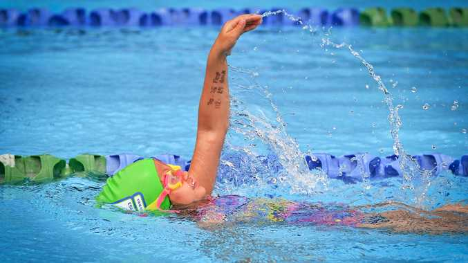 YOUNG GUN: India Bates, 4, was the youngest competitor at the swim meet and had to borrow bathers that were too big for her. She finished second in the 25m freestyle and backstroke.