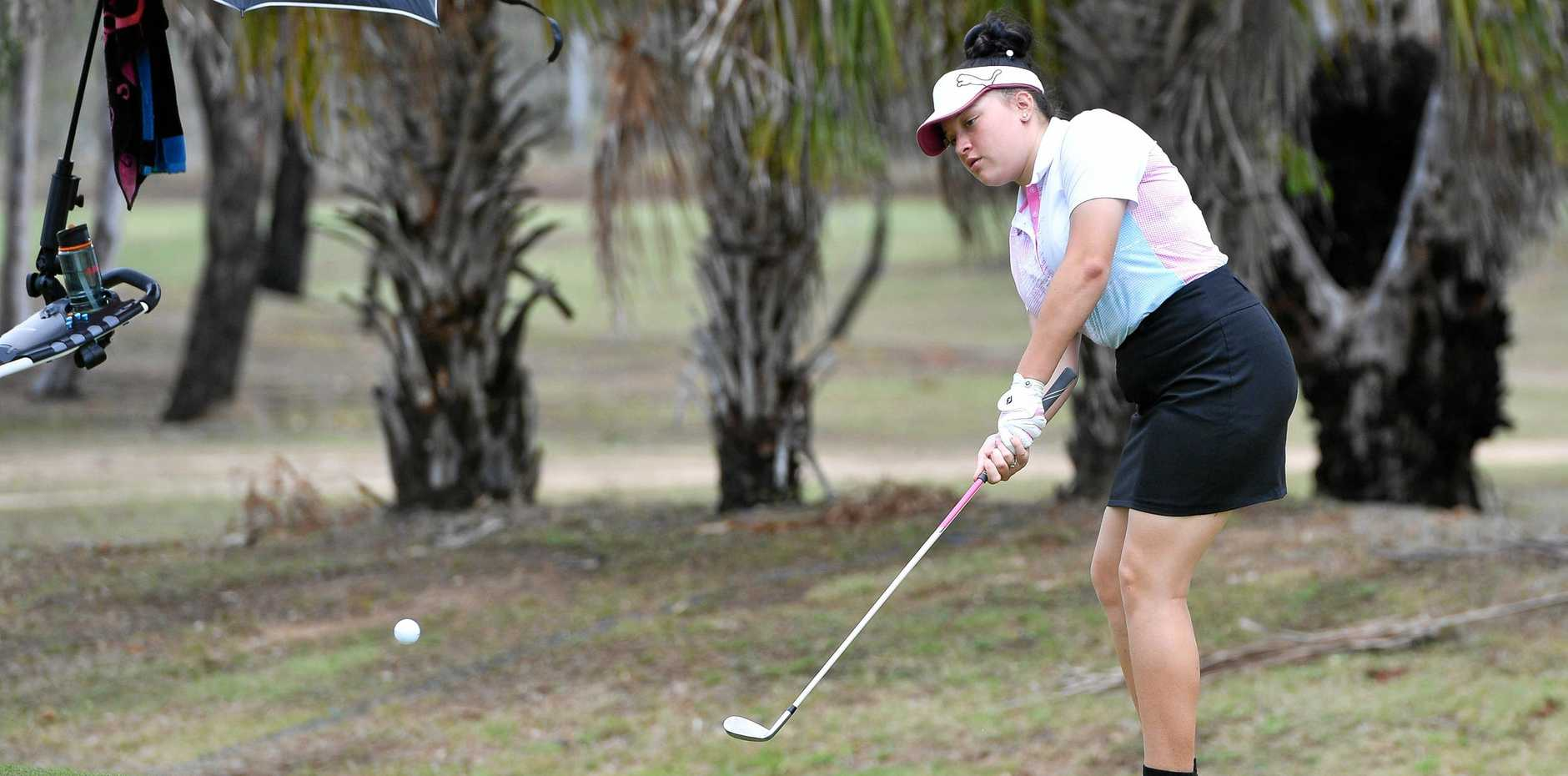 NEAT STROKE: 15-year-old Taylah Rideout plays one onto the green at the 2018 BITS Junior Golf Open.