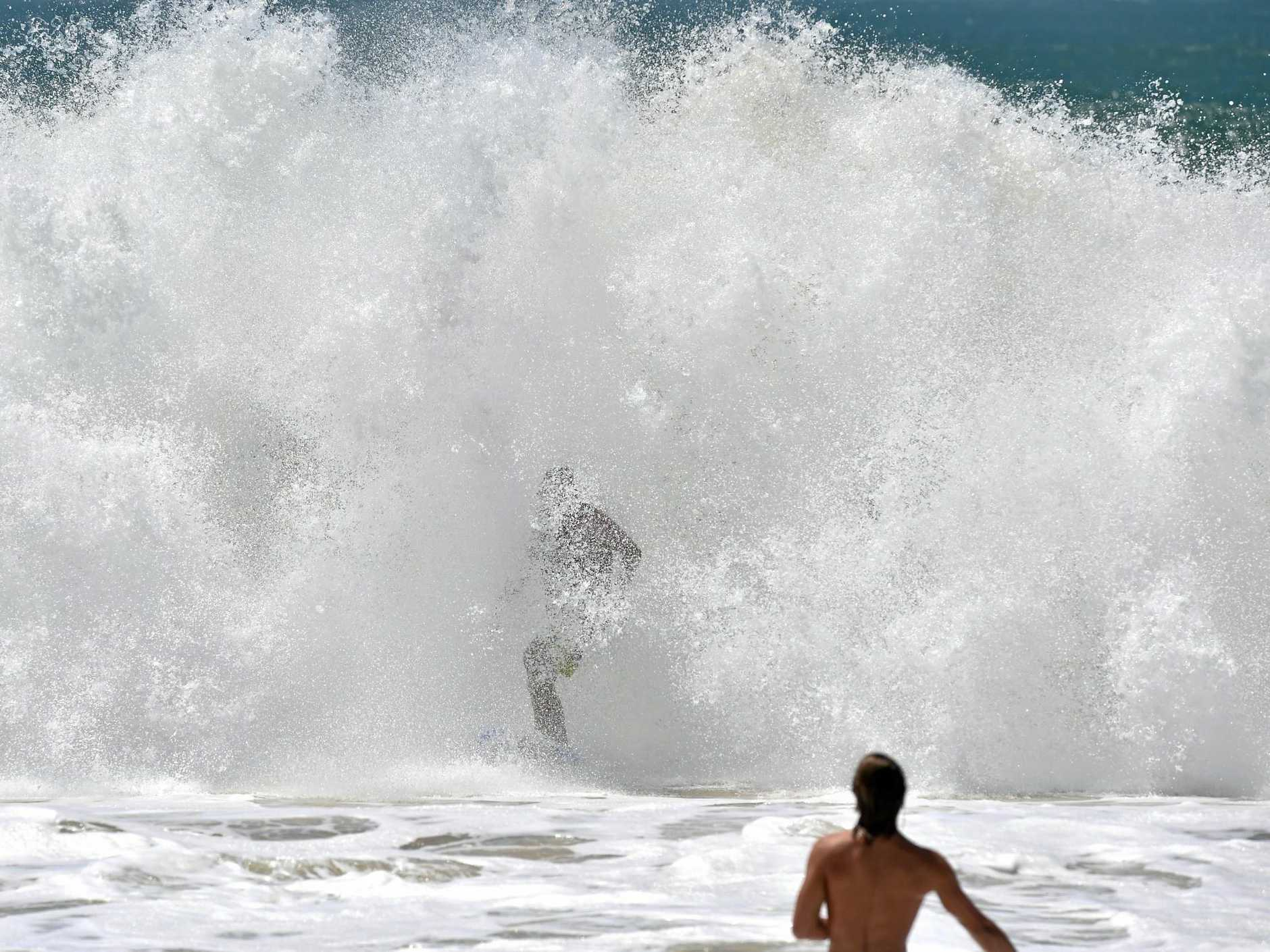 Huge waves pound Sunshine Coast Beaches as a result of Cyclone Winston. Big waves hit Mooloolaba. Photo: Che Chapman / Sunshine Coast Daily