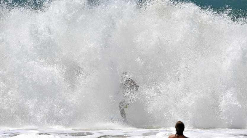 Huge waves pound Sunshine Coast Beaches as a result of Cyclone Winston. Big waves hit Mooloolaba. Photo: Che Chapman / Sunshine Coast Daily