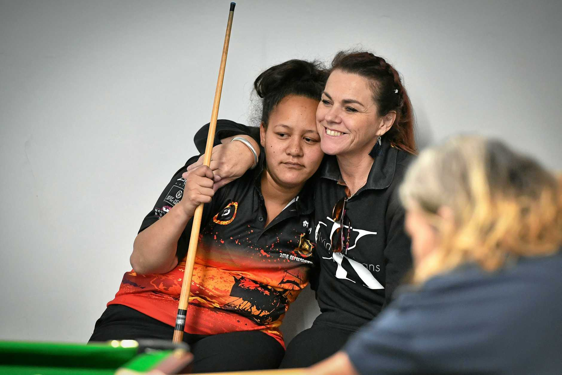 Brandy Wineti and Tina Gallagher at the 2018 Port City Cue Sports Women's Championship.