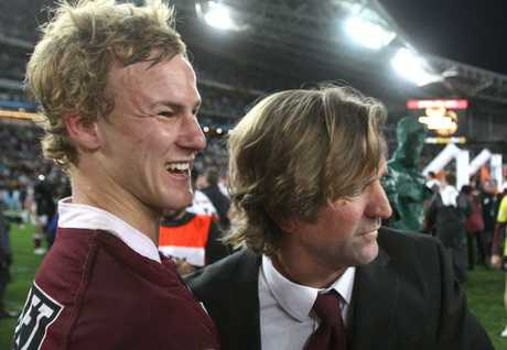 Daly Cherry-Evans with coach Des Hasler after the 2011 NRL grand final.