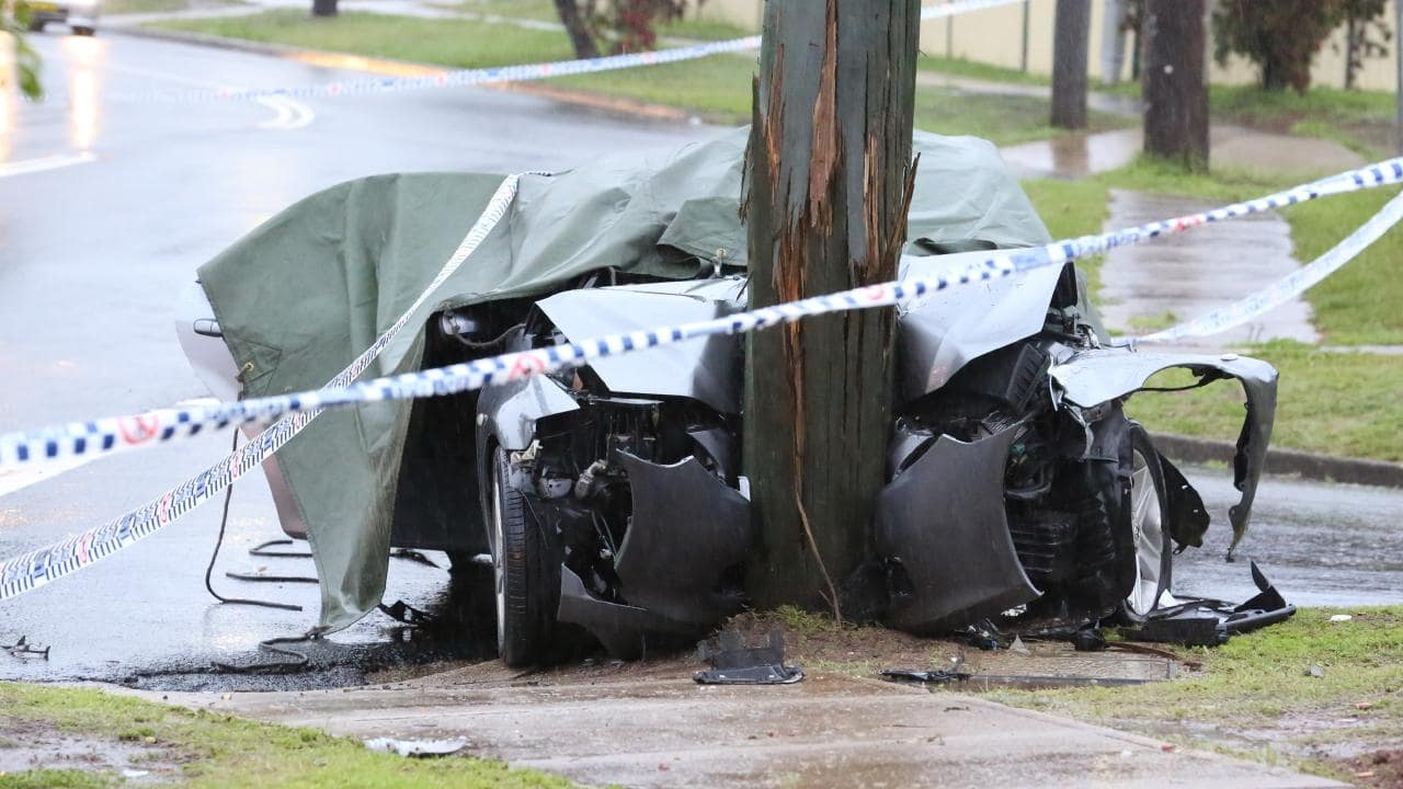 The crash site at the corner of Eggleton and Garden Sts, Blacktown. Pictures: Steve Tyson/TNV