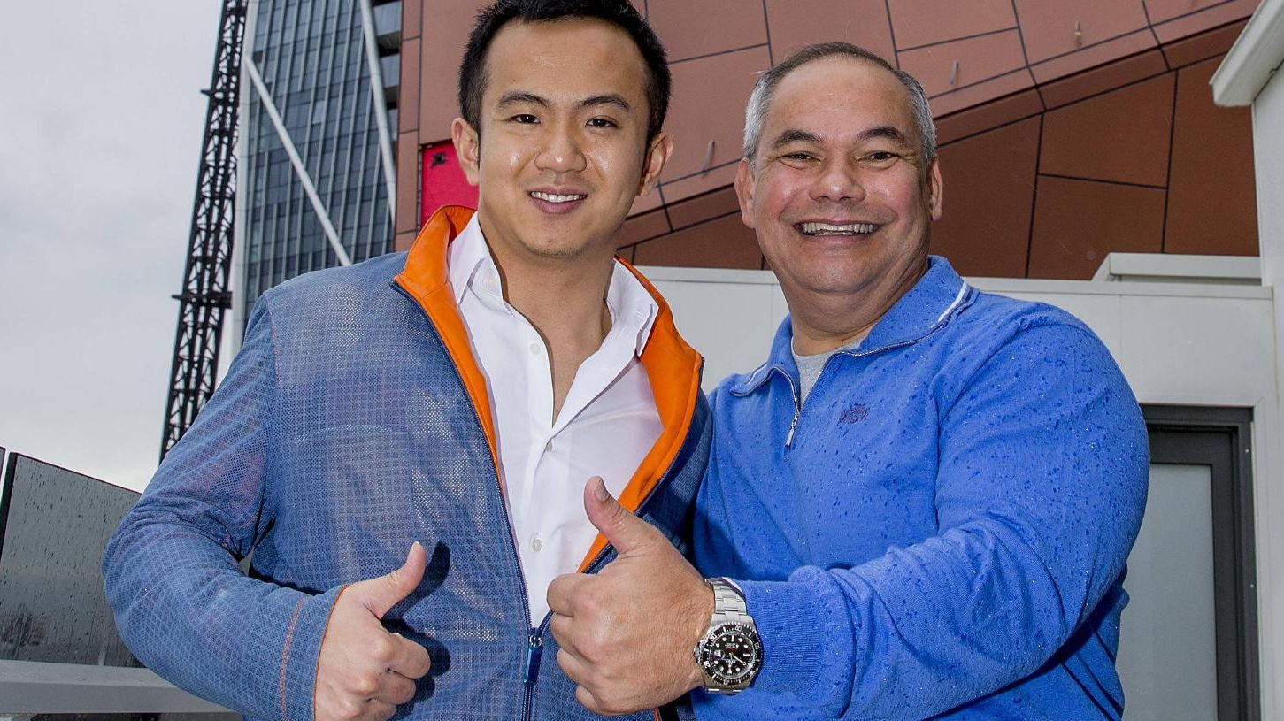Gold Coast Mayor Tom Tate and Yuhu Group Australia director, Jimmy Huang at Surfers Paradise earlier this month. Picture: Jerad Williams