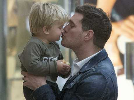 Michael Buble and son Noah in 2015.  Picture:  Supplied