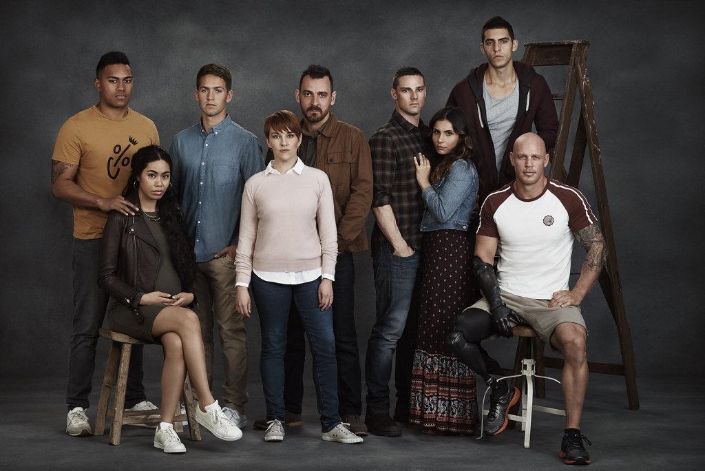 The cast of the TV series Fighting Season, from left, Marco Alosio, Sabryna Walters, George Pullar, Kate Mulvany, Ewen Leslie, Jay Ryan, Sarah Armanious, Julian Maroun and Paul de Gelder.