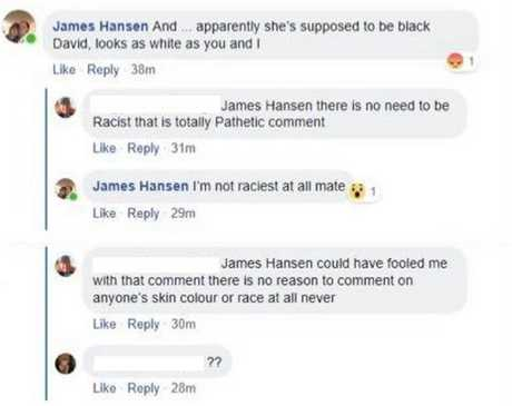 INAPPROPRIATE: The screenshot of Fraser Coast councillor James Hansen's social media post when he brought up Environment Minister Leeanne Enoch's race.