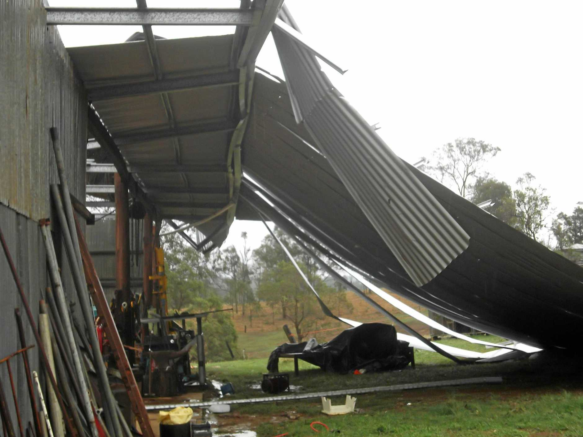 A shed is destroyed in last Thursday's tornado storm.