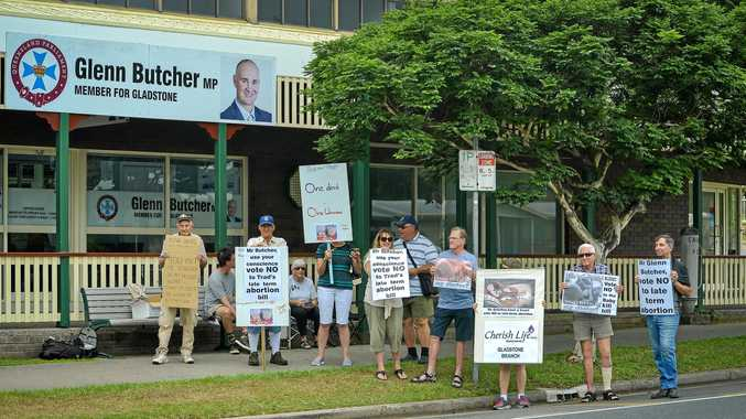 HOT TOPIC: Protesters gathered outside Member for Gladstone Glenn Butcher's office on Friday in opposition of the proposed Termination of Pregnancy Bill 2018.