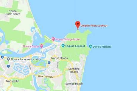 The location of Dolphins Point at the Noosa National Park, where a man is feared to have drowned.