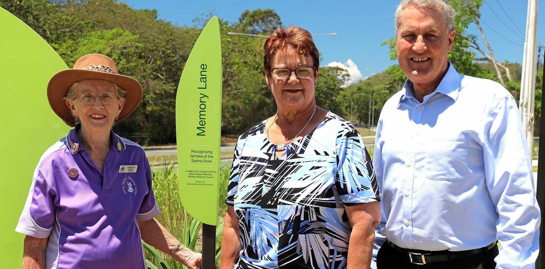 Sarina District Historical Centre president/secretary Carolyn Scott, Mackay Region councillor Karen May and mayor Greg Williamson.
