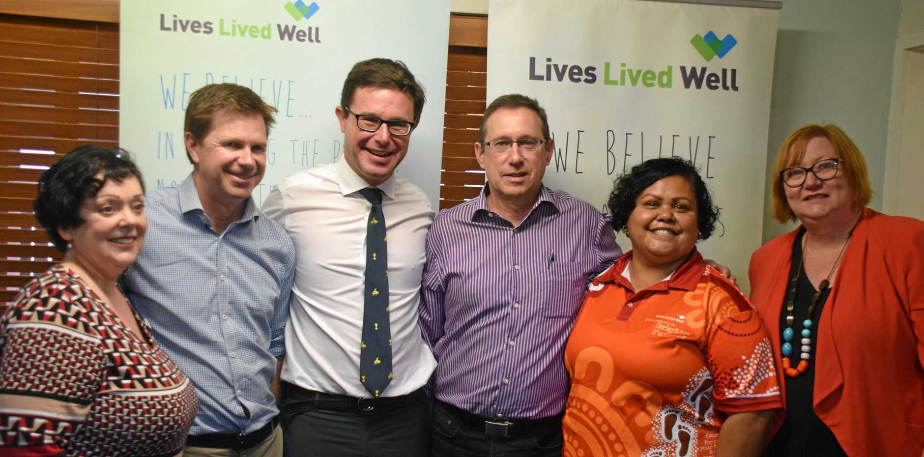 NEW PREMISES: David Littleproud MP joined the Lives Lived Well team to celebrate the new office.