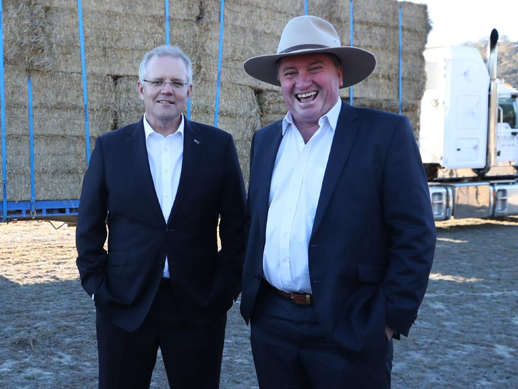 Prime Minister Scott Morrison making a drought announcement with Special Envoy for Drought Assistance and Recovery Barnaby Joyce on a property in Royalla, NSW. Picture: Kym Smith
