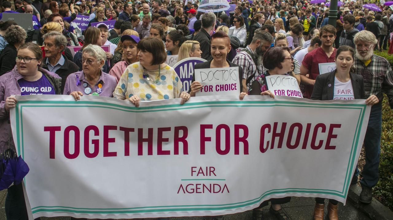 Pro-choice advocates seen at the pro-choice march in Brisbane on Sunday. Picture: Glenn Hunt/AAP