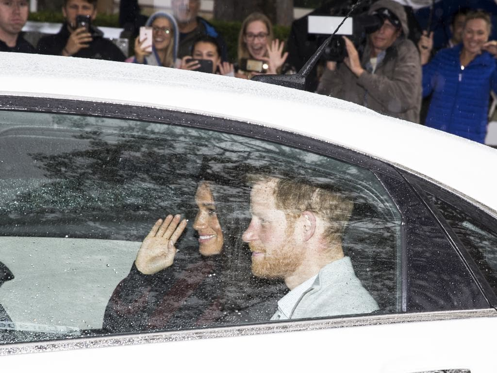 Prince Harry and Meghan Markle arrive at Admiralty House in Kirribilli, Sydney. Picture: Dylan Robinson