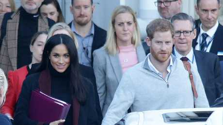 Meghan and Harry looked happy and relaxed as they landed in Sydney on Monday. Picture: Matrix