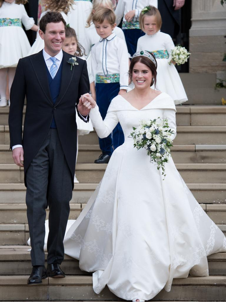 Princess Eugenie and Jack Brooksbank after the ceremony. Picture: Matrix