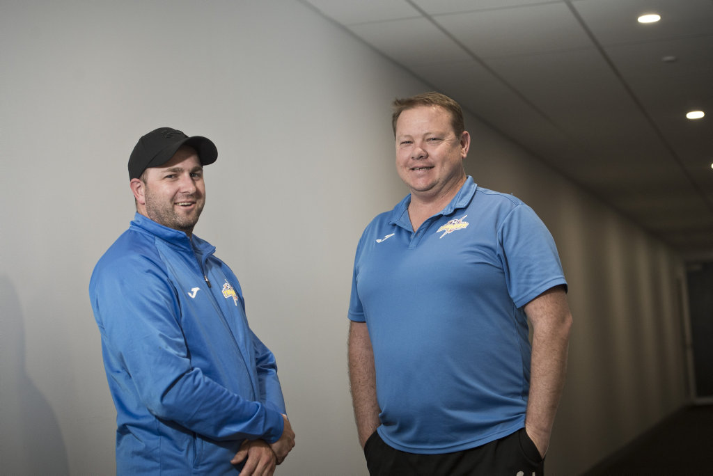 Craig Lockwood (left) and Anthony Bigby will coach the South West Queensland Thunder senior women for the 2019 NPL season, Monday, October 15, 2018.