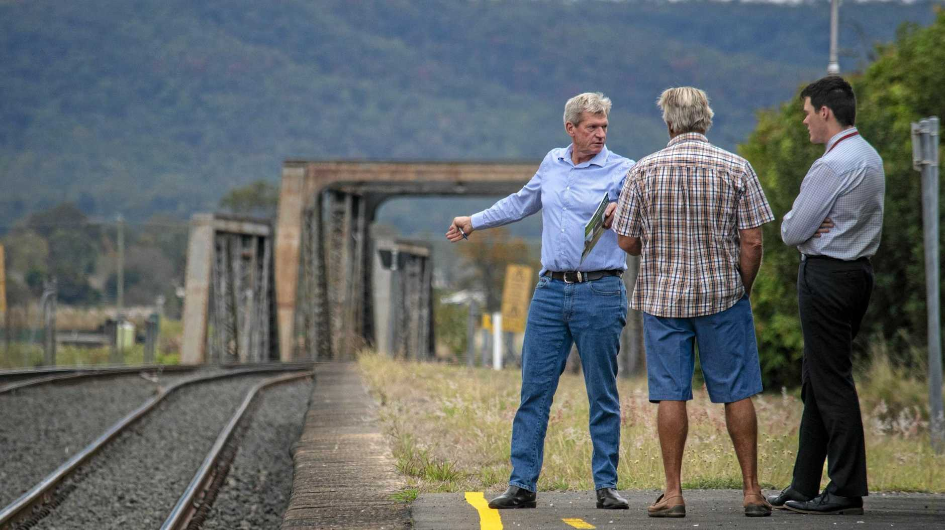 CONCERNED: Member for Lockyer Jim McDonald chats about the Inland Rail at the Gatton Train Station.
