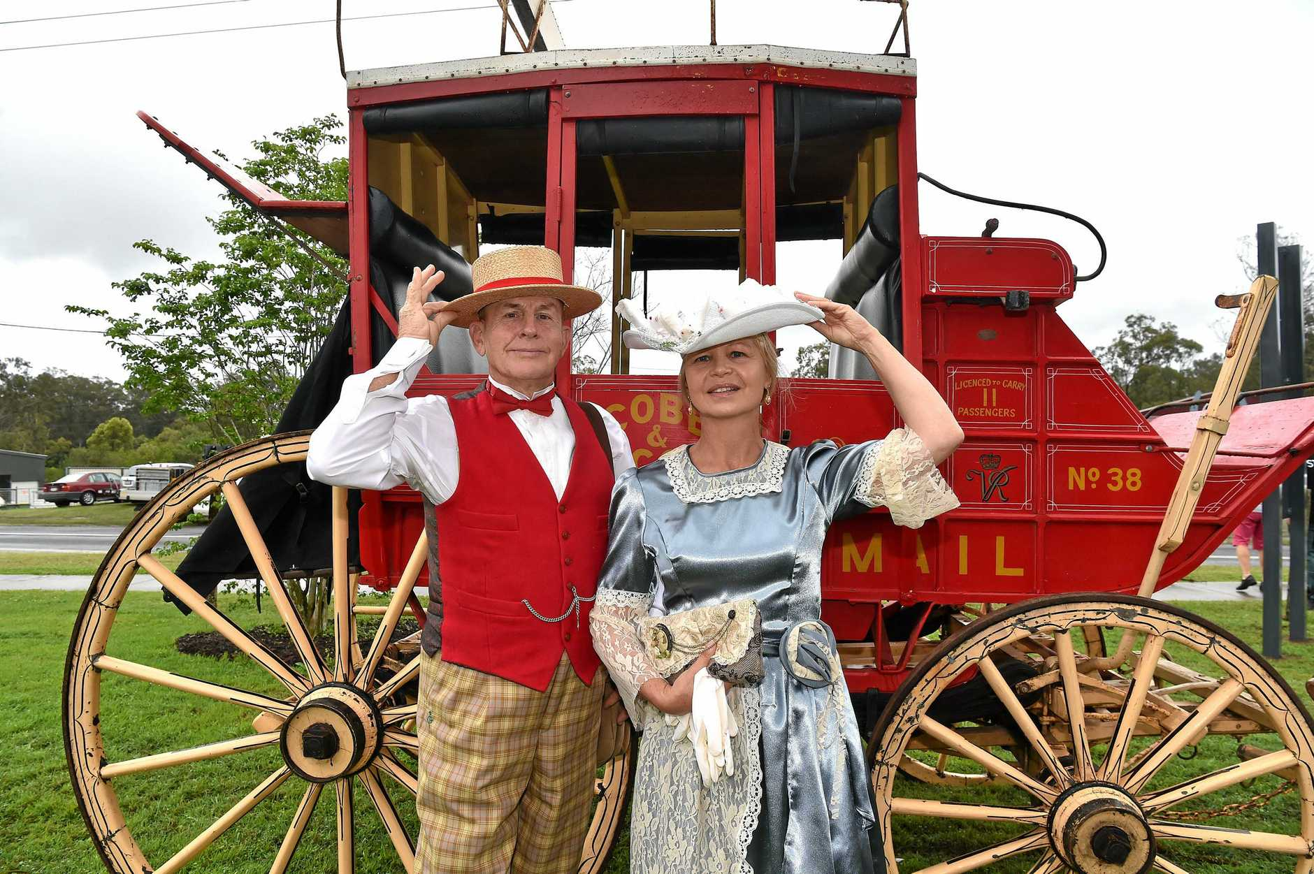BACK IN TIME: Terry and Regie Lewis step back in time during celebrations for Bankfoot House at Glass House Mountains. The heritage-listed property is celebrating 150 years.