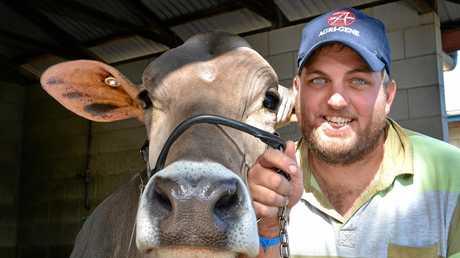 Jeremy Josefski with his dairy cow Fantastic4.