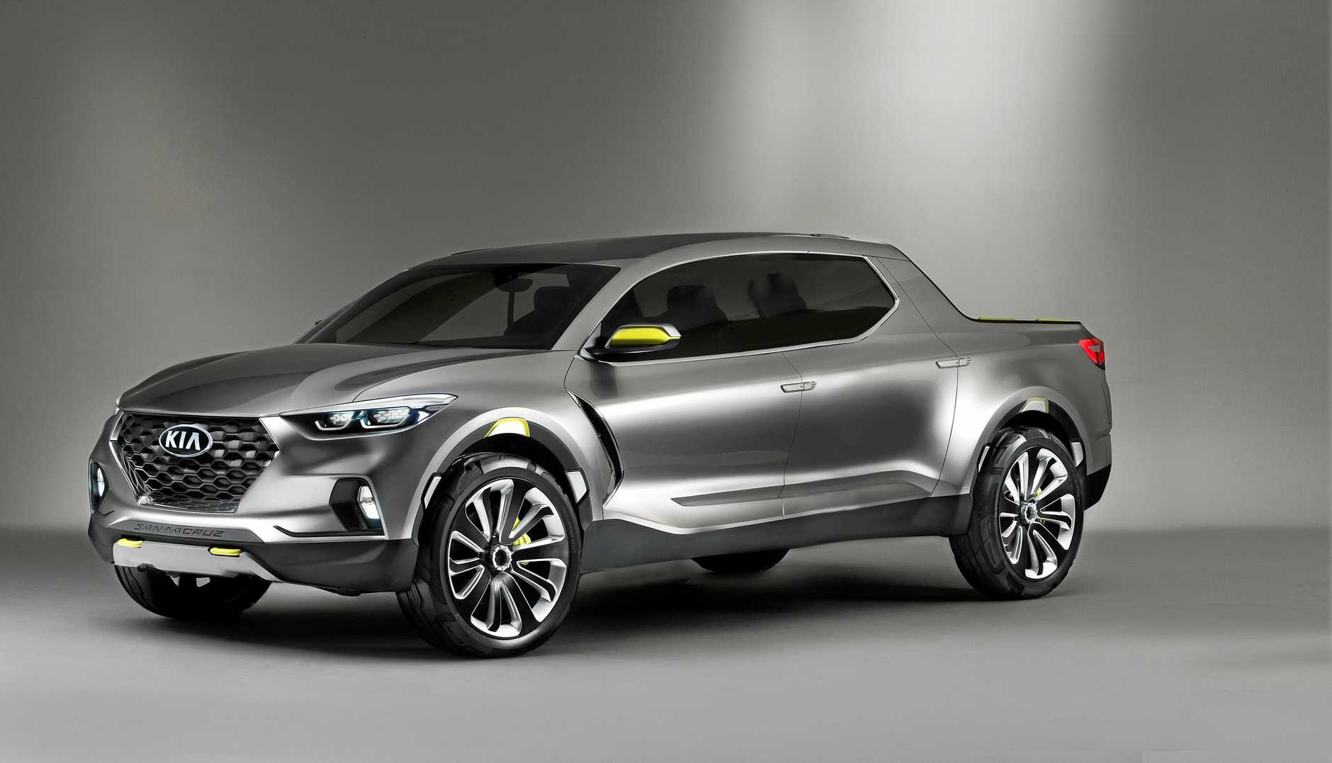 An artistic impression of a dual cab Kia ute, which will arrive in Australia by 2022 at the earliest.