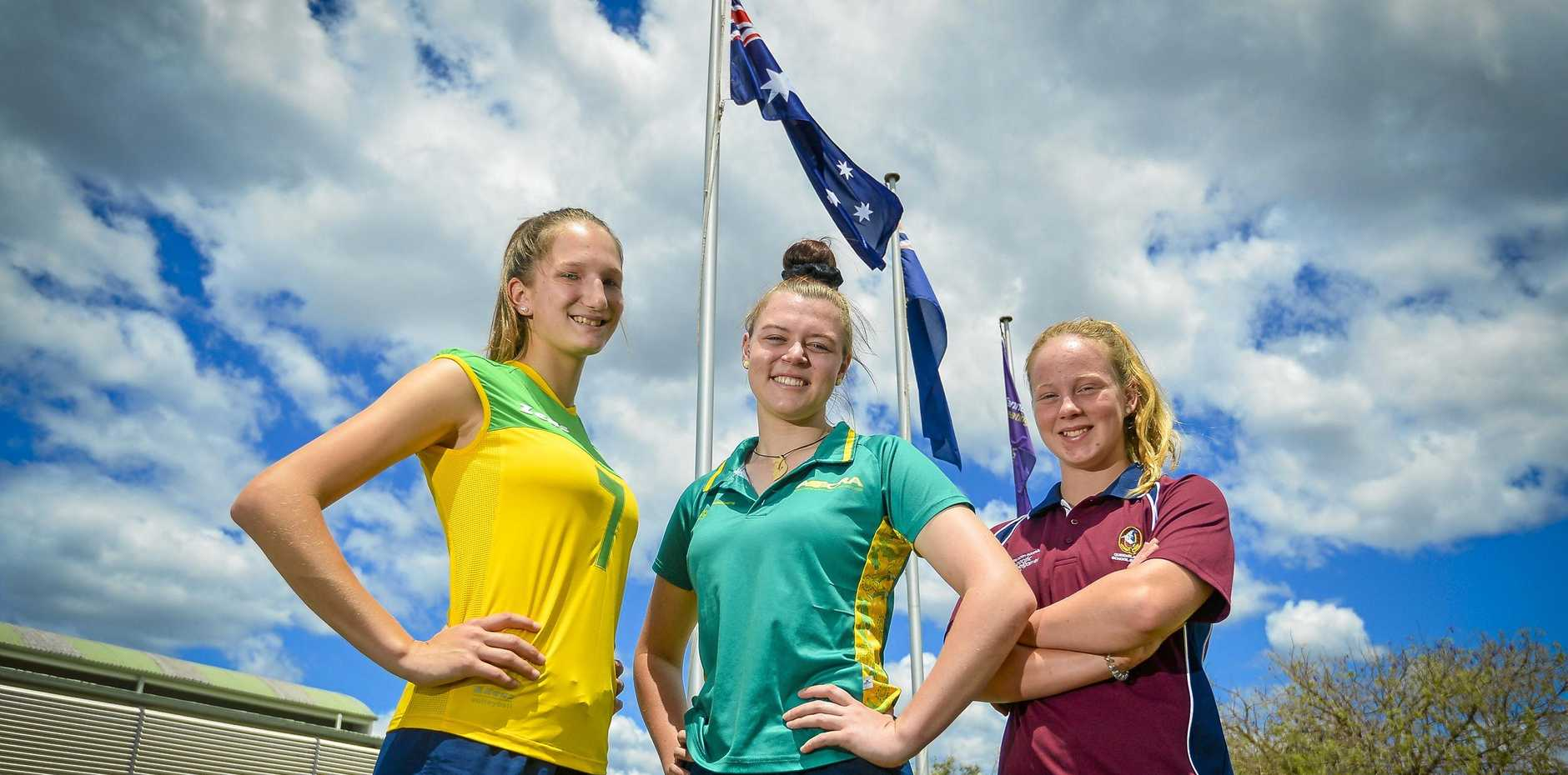 Volleyball player Scarlett Rudder, Outrigger Chloe Quinlan and swimmer Sally Vagg were chosen for Australian and Queensland representative duties.