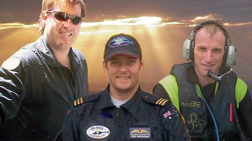 RACQ CQ Rescue crewmen killed in the tragic crash off Cape Hillsborough on October 17, 2003 were paramedic Craig Liddington, pilot Andy Carpenter and air crewman Stewart Eva.