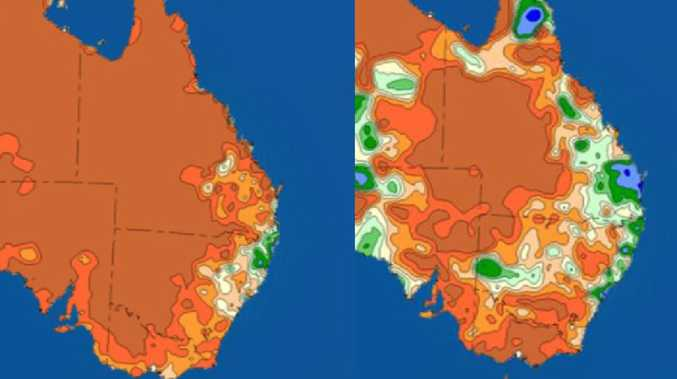 The maps that vividly shows how much rainfall Australia has received from September to October. Picture: Sky News Weather.
