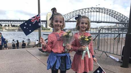 Six-year-old twins Grace and Willow came up from the southern highlands, hoping to catch a glimpse of the royals.