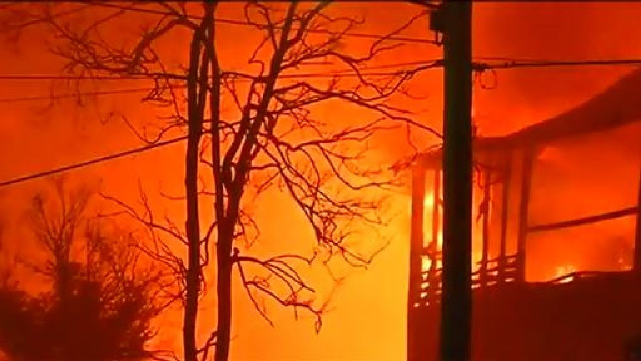 The historic Morningside State School burns on Tuesday morning. Picture: 7 News/Brisbane